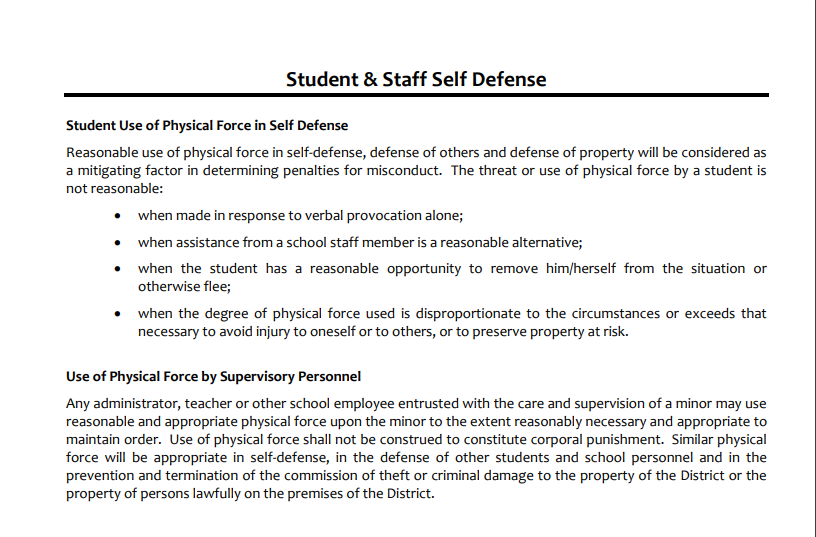 Student Self-Defense
