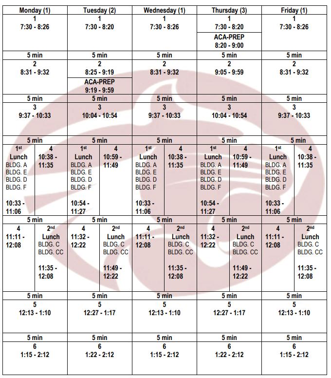 Bell Schedule for 2018-2019 School Year
