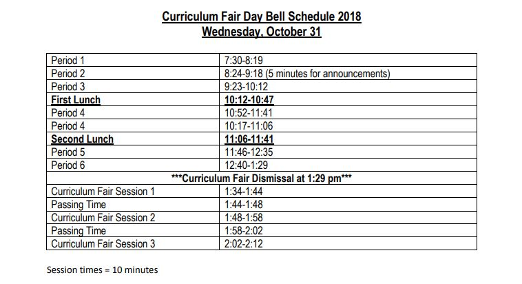 October 31st Curriculum Fair Schedule