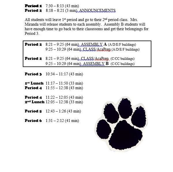 Winter Pep Assembly Schedule
