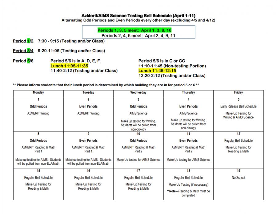 AzMerit Bell Schedule