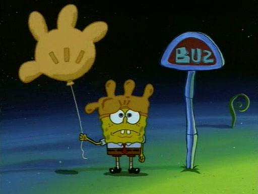 Spongebob Waiting for a Bus at Rock Bottom