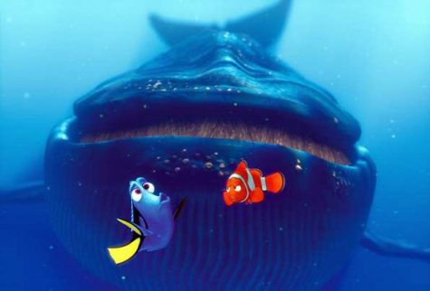 A Blue Whale About to Swallow Dory and Marlin in Finding Nemo