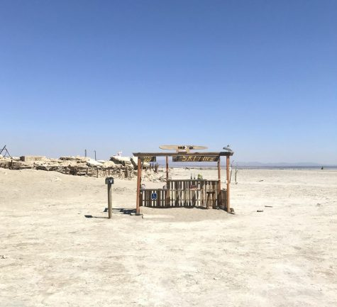 Lonely tiki stand on the shore of the Salton Sea