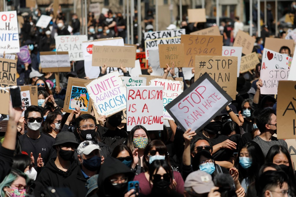 """SAN JOSE, CALIFORNIA - MARCH 21: People attend the """"#StopAsianHate Community Rally"""" at San Jose City Hall Plaza in downtown San Jose, Calif., on Sunday, March 21, 2021. (Nhat V. Meyer/Bay Area News Group) (Courtesy Of)"""