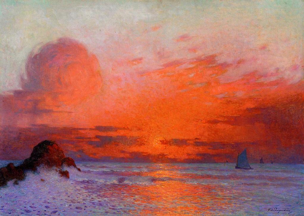 """Sailboats at Sunset"" by Ferdinand du Puiguadeau"